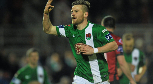 14 March 2016; Steven Beattie, Cork City, celebrates after scoring his side's fifth goal. SSE Airtricity League Premier Division, Cork City v Longford Town, Turners Cross, Cork. Picture credit: Eóin Noonan / SPORTSFILE