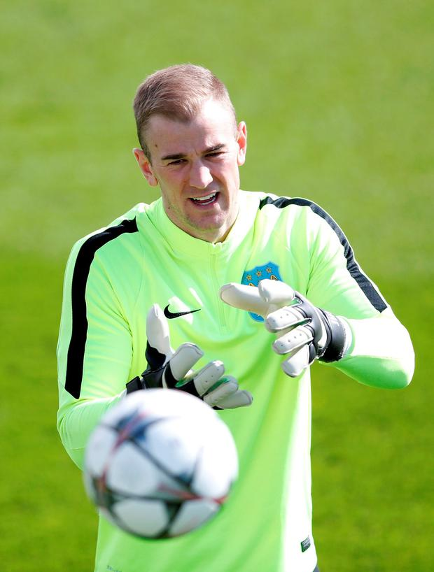 Manchester City's Joe Hart during training. Photo: Carl Recine/Reuters