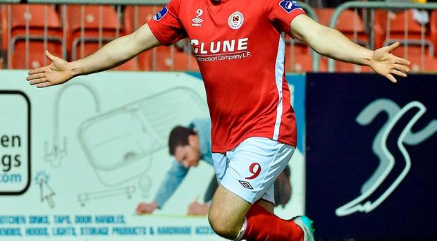 Christy Fagan celebrates after scoring St Patrick's Athletic's second goal against Bohemians at Richmond Park last night. DAVID MAHER / SPORTSFILE