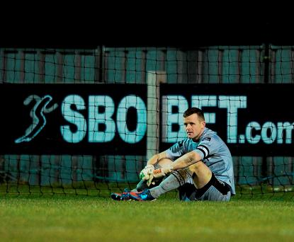 Wexford Youth goalkeeper Graham Doyle looks on dejected after conceding a late goal. Picture credit: Sam Barnes / SPORTSFILE