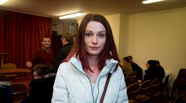 Petra Nacinova, resident, at a meeting of residents from Cruise Park in Tyrrelstown, Dublin, who are facing eviction from their rented homes. Picture: Arthur Carron