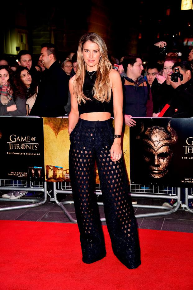 Vogue Williams arrives for the Gala Screening of 'Game of Thrones' Season 5, Episode 8: 'Hardhome' at Empire Leicester Square on March 14, 2016 in London, England. (Photo by Gareth Cattermole/Getty Images)