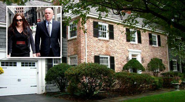 The €1.75m mansion located in the upmarket Boston suburb of Wellesley is being put on the market (Inset: David and Lorraine Drumm)