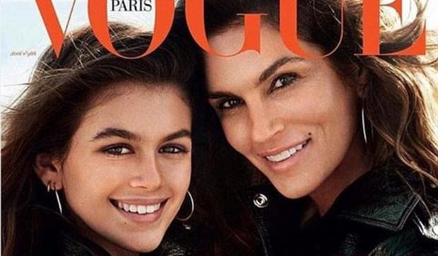 Cindy Crawford and Kaia Gerber feature together on the cover of Vogue Paris