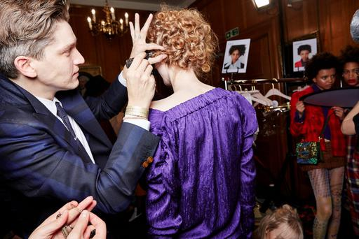 Mark Hampton working backstage at Vivienne Westwood at London Fashion Week