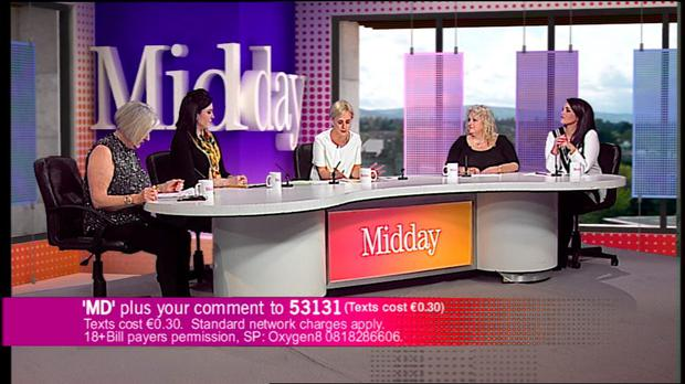TV3's Midday - Eileen Reid , Susan Webster, Sybil Mulcahy, Teena Gates and Paula McSweeney
