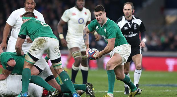 LONDON, ENGLAND - FEBRUARY 27: Conor Murray of Ireland passes the ball during the RBS Six Nations match between England and Ireland at Twickenham Stadium on February 27, 2016 in London, England. (Photo by David Rogers - RFU/The RFU Collection via Getty Images)