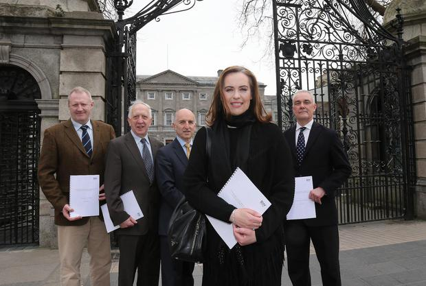 (l-r) Gary Jamison, HDS Energy, Prof Jimmy Burke of UCD, Dr Tony White of BW Energy, horse trainer Annemarie O'Brien, of Ballydoyle, and Malcolm Brown of BW Energy. Pic : Lorraine O'Sullivan