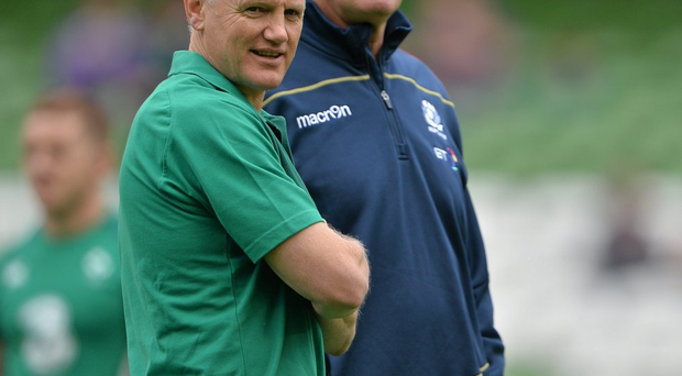Joe Schmidt alongside Scotland head coach Vern Cotter before last summer's World Cup warm-up game in Dublin. Photo: Brendan Moran/Sportsfile