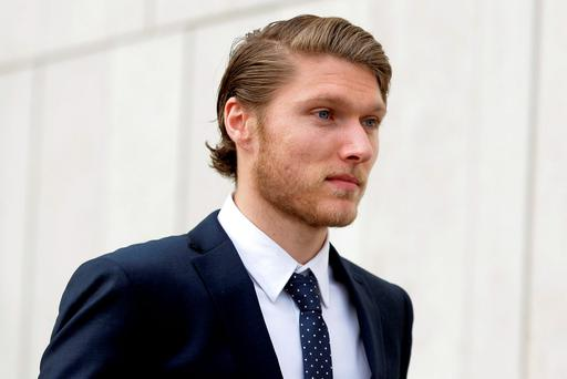 Republic of Ireland soccer star Jeff Hendrick (24) at court yesterday, where he faced a violent disorder charge. Photo: Courtpix