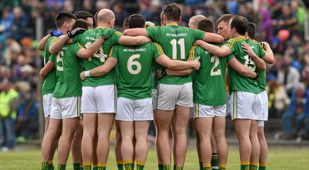 Leitrim footballers in a team huddle for last year's Connacht SFC clash with Galway – one of only two games they had between April and December 31, the same number of matches they had during the corresponding period in 2014. Photo: Ray McManus/Sportsfile