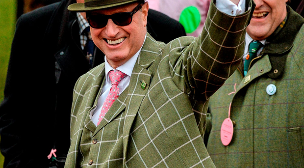Owner Rich Ricci waves to the crowd after Vroum Vroum Mag won the OLBG Mares' Hurdle (SPORTSFILE)
