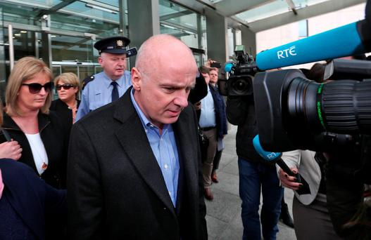 David Drumm pictured leaving court with friends and family after he was granted bail. Picture Colin Keegan, Collins Dublin.