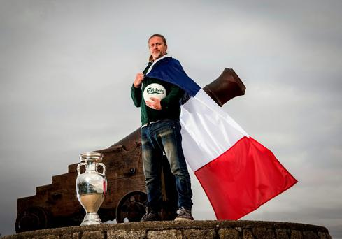 Carlsberg ambassador Emmanuel Petit was in Dublin yesterday with the Euro 2016 trophy to announce Carlsberg's Probably the biggest Euro ticket giveaway in Ireland with over 1100 Ireland match tickets up for grabs (INPHO/Billy Stickland)