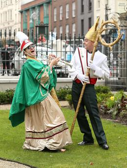 St Patrick climbs the steps of the Mansion House, pictured with John Kearns from the Clondalkin Marching Band as the Saint arrived in Dublin. Pic. Robbie Reynolds