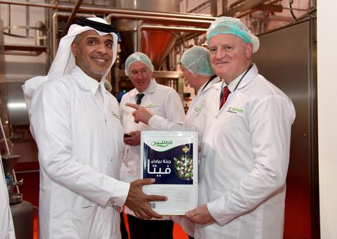 Ornua CEO, Kevin Lane and Saeed Bajwaber, Chairman of Al Wazeen Trading at the opening of Ornua Cheese Manufacturing Facility in Riyadh Ornua opens a new cheese manufacturing facility in Riyadh, Saudi Arabia. The €20 million state-of-the-art facility will manufacture white cheeses for the Saudi Arabian market. Pictured left to right: Saeed Bajwaber, Chairman of Al Wazeen Trading, Kevin Lane, CEO of Ornua.