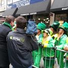 An Irish TV crew filming at the New York St Patrick's Day parade. This year's parade will be broadcast live for the first time by Irish TV from 3-7pm (GMT) on March 17 on Sky 191, Freesat 400, eVision 191, all free-to-air boxes and online at www.irishtv.com.