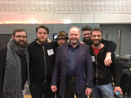 The Eskies (pictured with BBC's Clive Anderson) have been robbed on tour in the UK. Photo: The Eskies / Facebook.