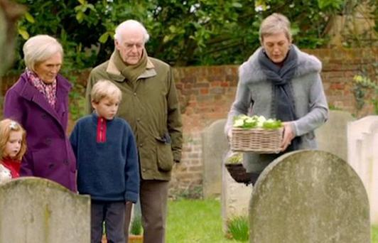 Mary Berry visits the grave of her son William with her family. Photo Credit: Mary Berry's Easter Feast BBC2