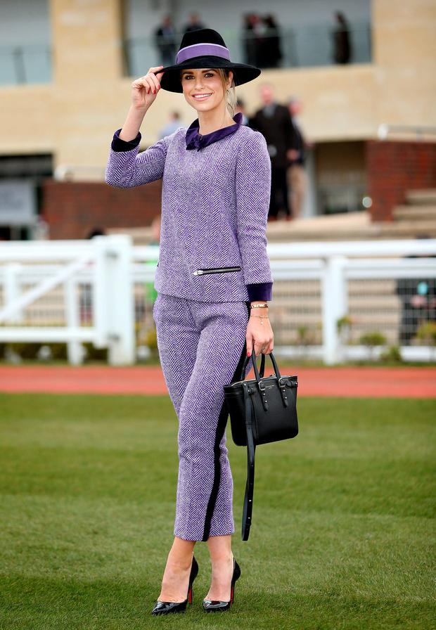 Vogue Williams pictured at the Cheltenham races for ladies day. Picture: Gerry Mooney