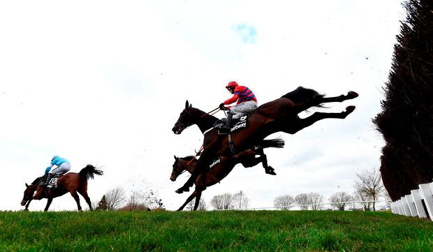 Sprinter Sacre ridden by Nico de Boinville (R) clears the third last in the Betway Queen Mother Champion Chase