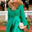Winner of the best dressed lady, Yvonne McAvoy from Dungannon Co. Tyrone pictured at the Cheltenham races for ladies day. Photo: Gerry Mooney
