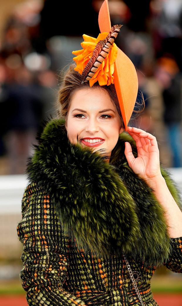 Cara Meehan from Athenry pictured at the Cheltenham races for ladies day. Photo: Gerry Mooney