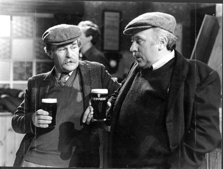 Robert Carrickford and Joe Lynch on the set of 'Glenroe'