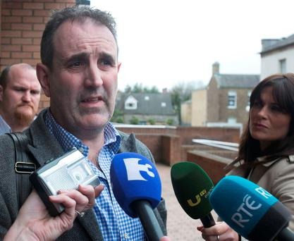 Transdev managing director Gerry Madden speaks to the media outside the Workplace Relations Commission after talks with Siptu. Photo: Leah Farrell