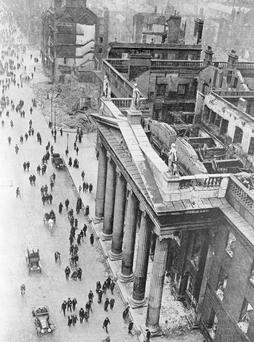 The shattered remains of the GPO after the Rising. Photo: Getty