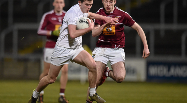 16 March 2016; Con Kavanagh, Kildare, in action against Daire Conway, Westmeath. EirGrid Leinster GAA Football U21 Championship, Semi-Final, Westmeath v Kildare, O'Moore Park, Portlaoise, Co. Laois. Picture credit: Matt Browne / SPORTSFILE