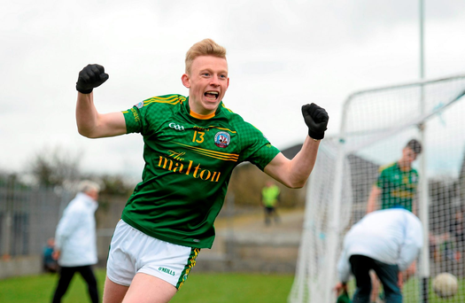 Evan Cronin, St Brendan's Killarney, celebrates after scoring his side's fourth goal (SPORTSFILE)