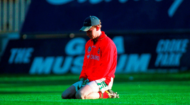 Ballina Stephenites goalkeeper John Healy shows his disappointment after their defeat to Crossmaglen in the 1999 All-Ireland club SFC final (SPORTSFILE)