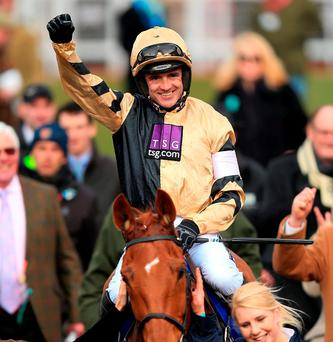 Ruby Walsh celebrates winning the Neptune Investment Management Novices' Hurdle with Yorkhill during Ladies Day of the 2016 Cheltenham Festival at Cheltenham Racecourse. Photo: Mike Egerton/PA Wire