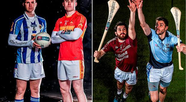 Castlebar Mitchels' Paddy Durcan is pictured alongside Darragh Nelson from Ballyboden and Shane McNaughton, from Ruairí Óg, Cushendall, is pictured alongside Na Piarsaigh's David Breen