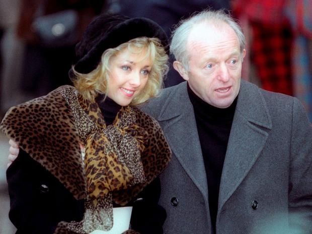 British magician Paul Daniels, accompanied by wife Debbie, leave a service of thanksgiving in memory of the late comic Les Dawson at Westminster Abbey, in London February 24, 1994