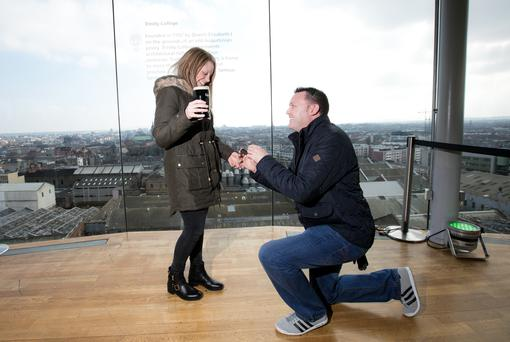 Nathan Hilton from Nottingham England surprises Emma Dalley by proposing at the Guinness Storehouse Picture Andres Poveda