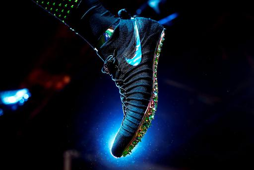 A Nike sports boot is pictured during an event to unveil their latest innovative sports products in New York on March 16. Photo: AFP/Getty Images