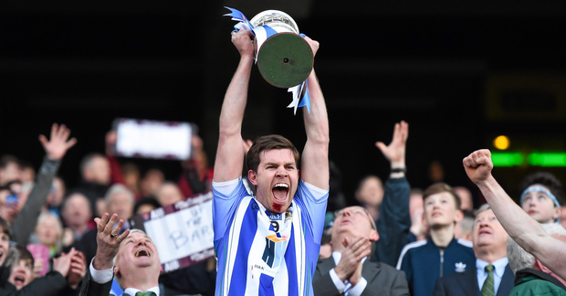 17 March 2016; Ballyboden St Endas captain Darragh Nelson lifts the Andy Merrigan cup. AIB GAA Football All-Ireland Senior Club Championship Final, Ballyboden St Endas, Dublin, v Castlebar Mitchels, Mayo. Croke Park, Dublin. Picture credit: Stephen McCarthy / SPORTSFILE