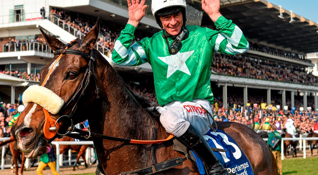 Jockey Davy Russell celebrates winning the Pertemps Handicap Hurdle Final on the Pat Kelly-trained Mall Dini at Cheltenham Photo: Sportsfile