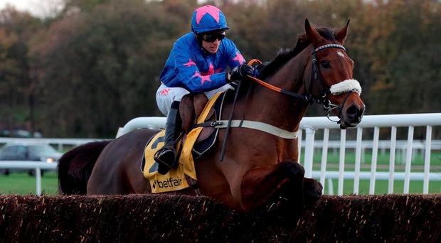 Cue Card and Paddy Brennan, here winnng the Betfair Chase in November, can land this afternoon's Cheltenham Gold Cup Photo: PA Wire