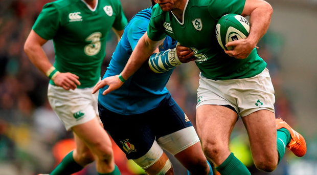 Ireland's Fergus McFadden on his way to scoring his side's ninth try against Italy last week Photo: Stephen McCarthy / SPORTSFILE