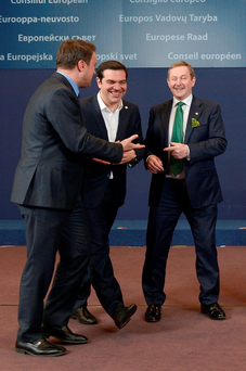 Luxembourg Prime Minister Xavier Bettel, Greek Prime Minister Alexis Tsipras, and Taoiseach Enda Kenny share a joke in Brussels. Photo: AFP/Getty Images