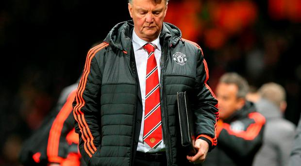 Manchester United manager Louis van Gaal dejected as he walks down the touchline after the UEFA Europa League match at Old Trafford, Manchester. Photo: Martin Rickett/PA Wire