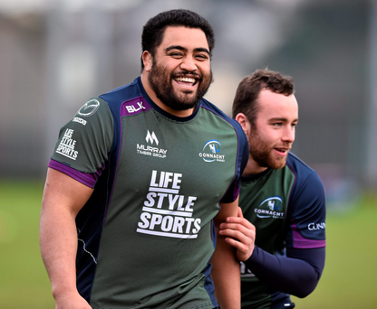 Connacht's Rodney Ah You, left, and Shane O'Leary during squad training in January Photo: David Maher / SPORTSFILE