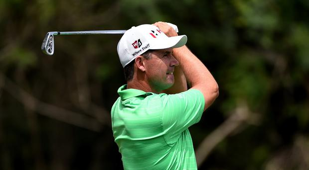 Padraig Harrington plays a shot on the first day of the European Tour Indian Open (Getty Images)