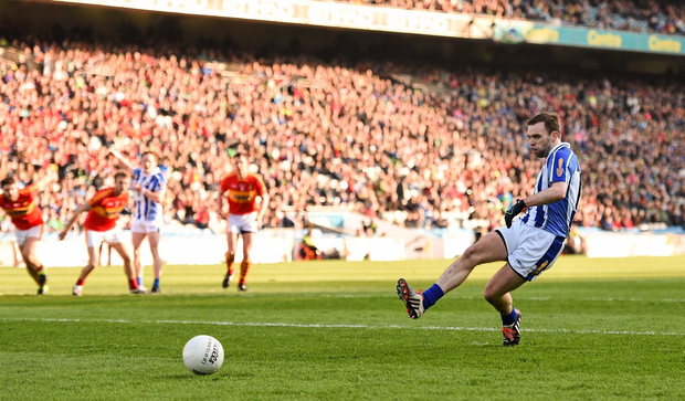 Andrew Kerin, Ballyboden St Endas, shoots to score his side's second goal, from a penalty (SPORTSFILE)