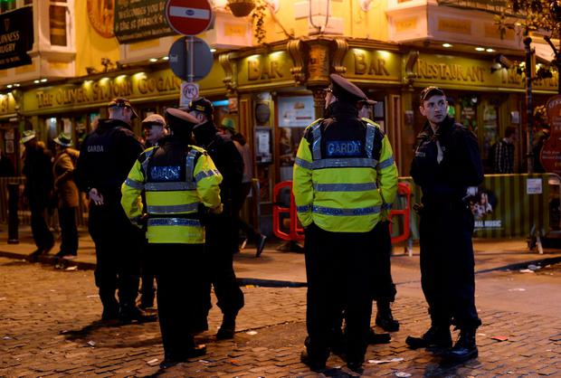 General view of Gardai in Temple Bar, Dublin. Picture: Caroline Quinn
