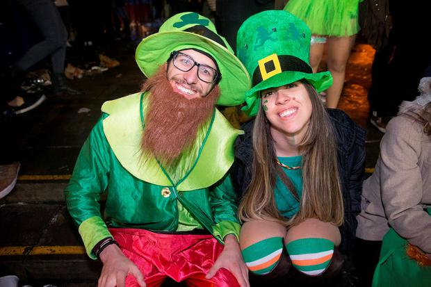 Revellers enjoy partying at St Patrick's Day festivities in Temple Bar, Dublin. Picture: Arthur Carron