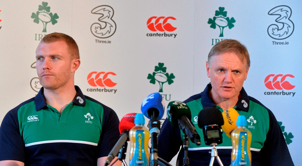 Ireland's head coach Joe Schmidt and Keith Earls during a press conference